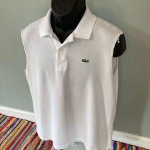 Lacoste Cut Off Polo Shirt White Size 6 XL